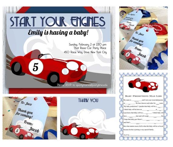 race car baby shower printable mini set shower invitation