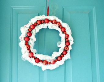 Red ornament wreath, Christmas wreaths, Christmas wreath, holiday wreaths, door wreaths, home and living, home décor, ornaments wreaths