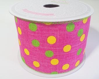 """2 1/2"""" Canvas Vibrant Dots Ribbon - Hot Pink - 10 Yards"""