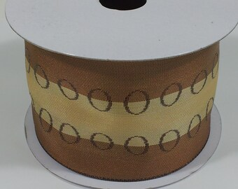 "2 1/2"" Wired Woven Ribbon with Rings - Toffee - 10 Yards"