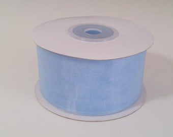 Sheer Organza Ribbon - Light Blue - 25 Yards