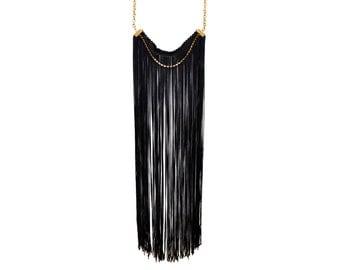 Black statement Necklace, Long Black Necklace, Long Fringe Necklace, Fringe Statement Necklace, Elegant Necklace