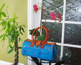Genuine leather handbag with Jeans Designs,attractive Blue or Green.truly handmade,unique ! (Large)