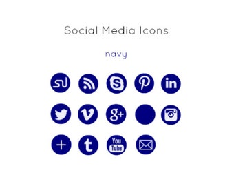 Navy Social Media Icons - Instant Download