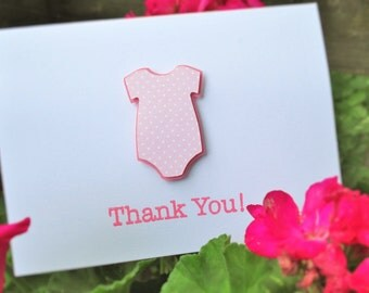 Baby Shower Thank You Card Set, Pink Polka Dot Onesie, Girl, 25 cards