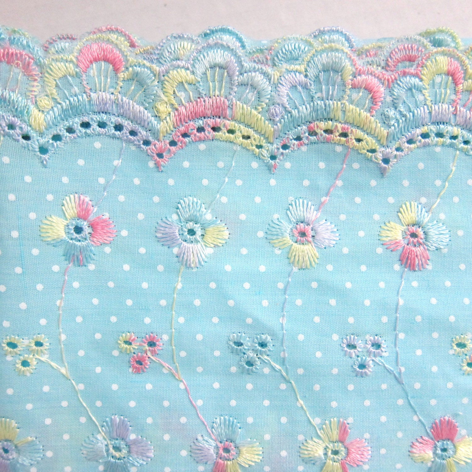 Half yard light blue cotton eyelet lace by for Childrens cotton fabric by the yard