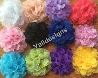 10pcs Wholesale 3.9'' inch Chiffon Lace Flower Brooch/Flower Headdress Fabric Flower For d Headband YTA25