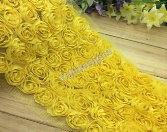 Lace Trim Fabric Bridal Chiffon Trim Grenadine 3D Wedding Mesh 6 Rows Rose Trim  1 yard/5 Yards/10 yards YTA36 -Yellow Pick Quantity.