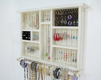 Closet Jewelry Holder with ring cuby and bangle bar