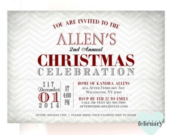 Christmas Party Invitation - Holiday Celebration Invitation - Vintage Gray Chevron Background - Printable No.223