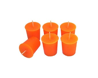 12 Orange Classic Hand-poured Unscented Votive Candles
