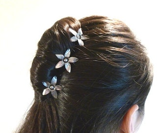 Three small flower hair pins cyclamen