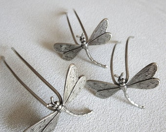 Three small hairpins with dragonflies