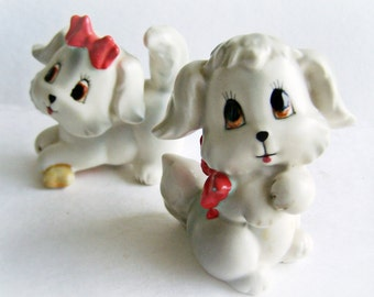 Vintage Dog Salt and Pepper Shakers Gray Puppies, Lefton Shaker Set, very cute Puppy Shaker Set