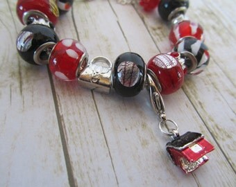 Dog House Charm Bracelet, European Style Bracelet, Red Bracelet, Black Bracelet, Red and Black Bracelet, Dog House Charm, Bracelet, Gifts