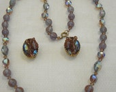 Signed Hobe' single Strand Necklace and Clip Earrings