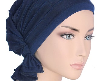The Abbey Cap® #428 Ruffle Navy Blue - Elegant Chemo Turban