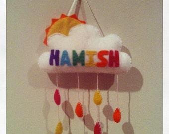 Twit Twoo Personalised Cloud, Sun & Raindrop Name Hanger