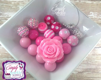 Chunky Necklace DIY kit Pink Flower bead Make it yourself kit