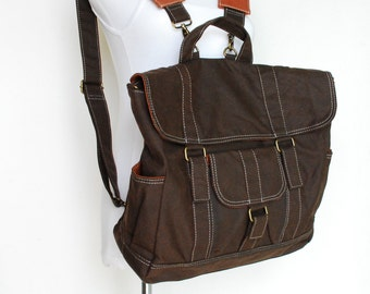 Sale SALE SALE 30% - Glen, Waxed Dark Brown, Camera Backpack Convertible + Insert/ Backpack/ Waxed Canvas Backpack / DSLR Bag