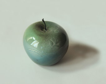 CERAMIC APPLE SCULPTURE,Sculpture ceramic turquoise apple,high fire pottery, fruit of fall,fruit ,kitchen decor,new kitchen fruit lovers,