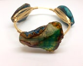 Bangle - Wire Wrapped Stone - Blue/ Brown Agate slice on Gold or Silve Wire - Handmade to order