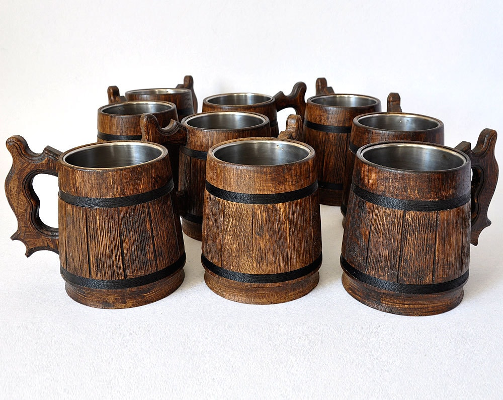 10 Wooden Beer mugs 05 l 17oz natural wood by GoodMoodInWood