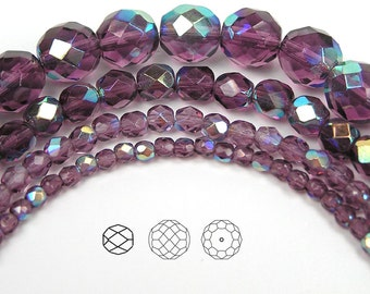 6mm (68pcs) Amethyst AB coated, Czech Fire Polished Round Faceted Glass Beads, 16 inch strand