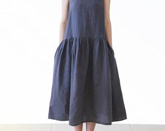 Womens Dress Sleeveless Linen Dress Vintage Loose Sundress Heart Collar Summer Dress