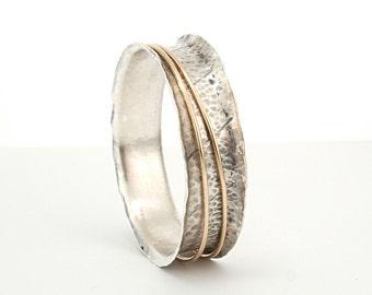 Birthday gift | Sterling Silver &14kGold Bangle, Silver Bracelet, Spinning Bangle, Silver Spinning Bracelet,Spinner Bangle,14k Gold Bangle