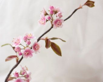 Sakura Branch Handcrafted Clay Cherry Blossoms Flowers Buds and Leaves
