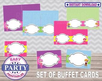 Lalaloopsy venta tarjetas buffet, fiesta de lalaloopsy, partido imprimibles, descargas instantáneas, lalaloopsy imprimibles, DIY, 2 por página, cumpleaños de niñas