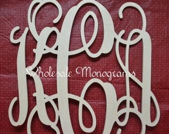 "20"" inch Wooden Monogram Letters- UNPAINTED- Wedding Decor- Home Decor"