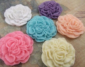 6pcs   Mixed in 6 colors Resin Flower Cameo Cabochon.