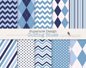 "FREE COMMERICAL use Argyle Digital Paper Pack. ""Golfing Blues"" Navy  Scrapbooking Papers. Golf, Chevron, Stripe, Polka Dots."