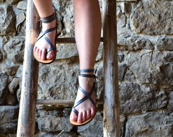 Sale 15%! Womens sandals, Blue leather, barefoot sandals, platform sandals, women, flat sandals, strap sandals, adjustable sandals