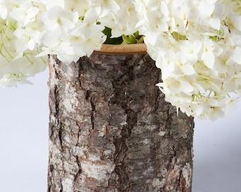 Rustic wedding log vase, wooden vase, flower vase, woodland wedding decoration, natural home decor, rustic wedding centerpiece
