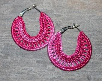 Handmade Earrings, Crocheted Hoops 35mm, Silver Plated, Round Dangle Earrings, Beaded, Lace, Dangling, Party Girl, Summer Heat