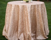 Champagne blush matt sequins tablecloth for wedding & events