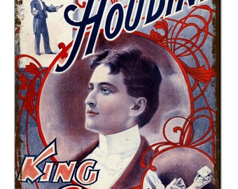 Houdini Magic King Of Cards Vintage Metal Sign Retro Tin Plaque Advert