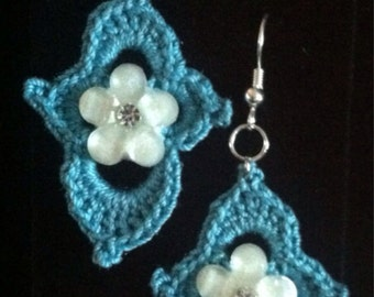 Crocheted teal blue earrings