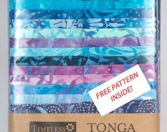 Timeless Treasures Tonga Treats Batik 'Strippy Pinwheel' in Reef w/Pattern Fabric  731