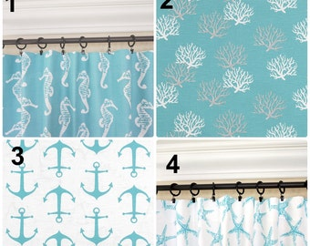 Aqua Curtains.Anchors Window Curtains.Aqua Kitchen Curtains.Aqua Blue  Drapes.Nautical