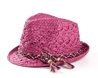Fedora hat , Sun hat , Marsala custom hat , Raffia fedora hat for women.