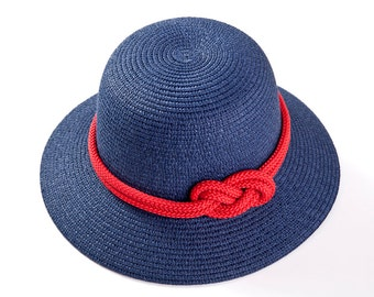 Blue hat with red sailor rope & a nautical knot , Straw hat , Women's hats , Sun hat.