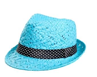 Fedora hat , Sun hat , Light blue custom hat , Raffia fedora hat for women.