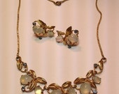 Vintage Van Dell Gold Filled Earring And Necklace Set 1960's Moonstone