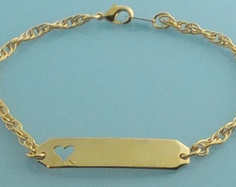 Women's ID Bracelet with Open Heart 005