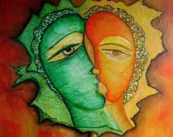 """Abstract Painting Picasso style Cubist Modern art .Gift Idea.""""Lovers"""".Wall decor.Large Size 27.55x31.49 inch (70x80 cm)"""