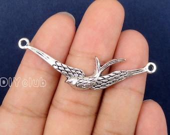 12pcs of Antique Tibetan silver Swallow bird Connector Charms  53x14mm